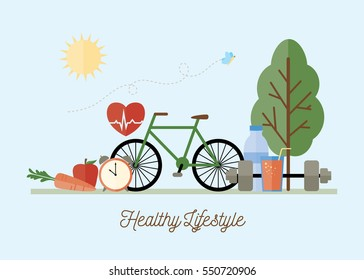 Healthy Lifestyle Concept - Vector Illustration