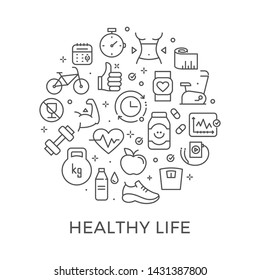 Healthy Lifestyle Design Template with Thin Line Icons