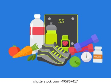 Healthy lifestyle design. Vector illustration for diet and nutrition, weight loss, health and good habits