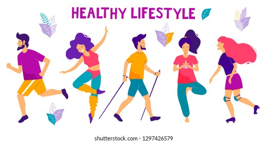 Healthy lifestyle. Different physical activities: running, roller skates, dancing, yoga, fitness,  nordic walking. Flat vector illustration