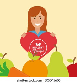 Healthy Lifestyle digital design, vector illustration 10 eps graphic