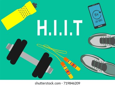 Healthy lifestyle, fitness and active concept. Smartphone, dumbbell, skipping rope, water bottle and sport shoes with word HIIT (high intensity interval training)