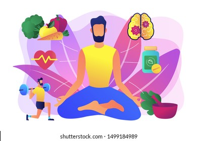 Healthy lifestyle, fitness and balanced diet. Wellness achievement. Holistic medicine, holistic mental therapy, treatment of the whole body concept. Bright vibrant violet vector isolated illustration