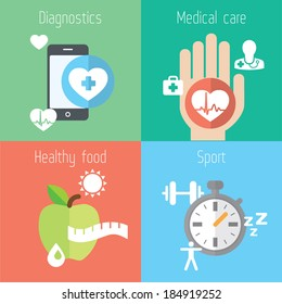 Healthy lifestyle flat stylish illustration set. Medicine, health care, food and sport theme. Modern colors. Vector illustration. Layered file