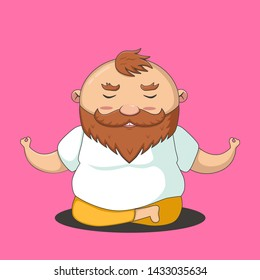 Healthy lifestyle. Funny cartoon illustration of fat man meditation. Bald beard guy sitting on lotus pose and relax. Yoga, health and lifestyle