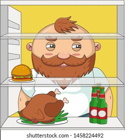 Healthy lifestyle. Funny cartoon illustration of fat man and bad diet.   Beard fat man looking in the fridge for grilled chicken, beer and burger.