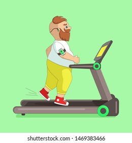 Healthy lifestyle. Funny cartoon illustration of fat man with headphones and smartphone music on running machine. Sport, losing weight, health and activity