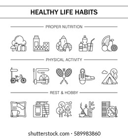 Healthy lifestyle habits black and white line vector icons. Proper nutrition fruit vegetables water seafood. Physical activity sport outdoor exercise fitness. Rest and hobby sleep reading spa