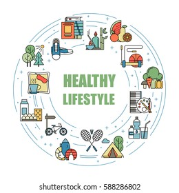 Healthy lifestyle habits colorful line vector icons. Proper nutrition, physical activity, rest and hobby. Energetic and natural life. Organic sign isolated. Good diet.