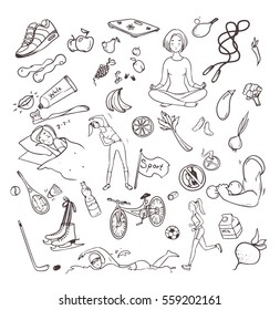 Healthy lifestyle hand drawn set. Collection doodle objects with fitness, sport, fruit, yoga symbols. Contour vector illustrations.