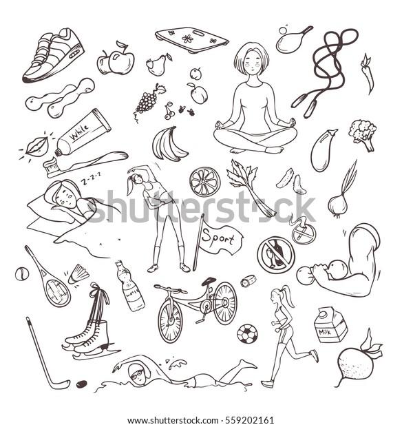 Conjunto de estilo de vida saludable dibujado a mano. Colección de objetos de doodle con símbolos de fitness, deporte, fruta, yoga. Ilustraciones vectoriales de contorno.