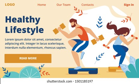 Healthy Lifestyle Horizontal Banner. Outdoor Sport, Cardio Fitness Training, Energetic Hardy Girl and Man Engaged in Active Fitness Sports with Dumbbells on Platform. Cartoon Flat Vector Illustration