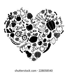 Healthy lifestyle icons design in black and white. Food background. Shape of heart isolated