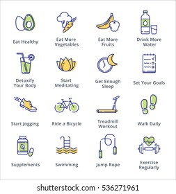 Healthy Lifestyle Icons - Outline Series
