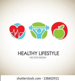 healthy lifestyle icons over vintage background vector illustration