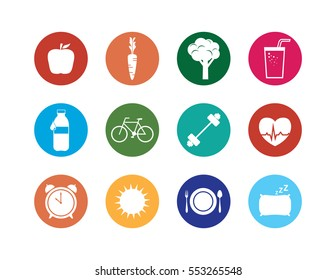 Healthy Lifestyle Icons Set. Collection of colorful circle icons of symbols representing health, nutrition, fitness and wellbeing. Simple flat vector graphics.