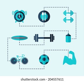 Healthy lifestyle icons. Vector illustration.