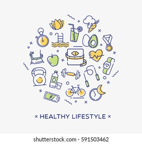 Healthy lifestyle illustration, dieting, fitness and nutrition.