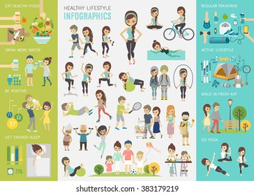 Healthy lifestyle infographic set with charts and other elements. Vector illustration.