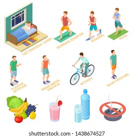 Healthy lifestyle isometric concept. Regular exercises, medical checking diet nutrition. Good habits sport activities vector elements. Isometric sport and health nutrition, activity man illustration