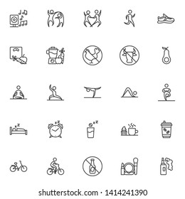 Healthy lifestyle line icons set. linear style symbols collection, outline signs pack. vector graphics. Set includes icons as Dancers couple, Running man, Sport shoe, Weight loss, Meditation yoga pose