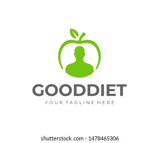 Healthy lifestyle logo design. Weight loss diet vector design. Man and apple fruit logotype