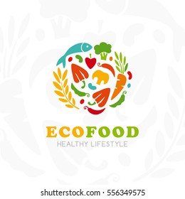 Healthy lifestyle logo. Round emblem of raw food. Vector icon template for vegan restaurant, diet menu, natural products, fitness club, family farm. Light background