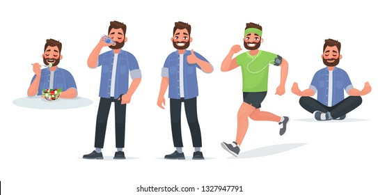 Healthy lifestyle. A man eats useful food, drinks water, trains and runs, practices yoga. Vector illustration in cartoon style
