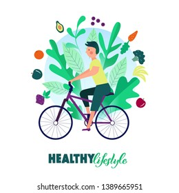 Healthy lifestyle. А man riding a bicycle. Healthy food. Banner, poster hand drawn design. Colorful flat cartoon vector illustration