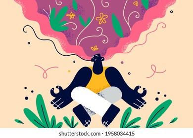 Healthy lifestyle, meditation, positive thoughts concept. Young blonde smiling woman sitting meditating keeping eyes closed practicing peace of mind, keeping fingers in mudra gesture illustration  - Shutterstock ID 1958034415
