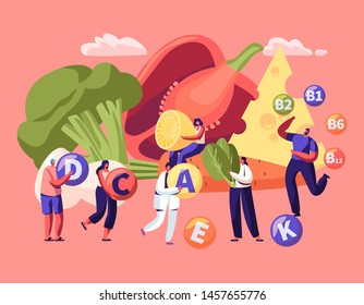 Healthy Lifestyle, Organic Food Choice. Vitamins in Products Infographic. Fruits, Vegetables, Cheese and Eggs as Source of Energy and Health. Vegetarian Diet Concept. Cartoon Flat Vector Illustration