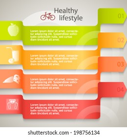 Healthy lifestyle & organic food icons. Modern background infographic style on ribbon arrows chart. Vector illustration eps 10 for cover page magazine or web banner