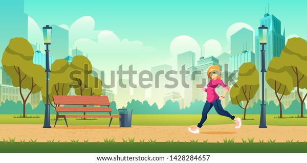 Healthy lifestyle, outdoor physical activity and fitness in modern metropolis cartoon vector concept with happy smiling young woman in headphones jogging, running on pathway in city park illustration