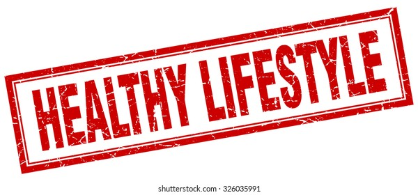 healthy lifestyle red square grunge stamp on white