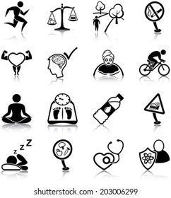 Healthy lifestyle related icons/ silhouettes