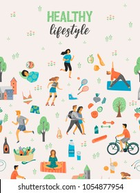 Healthy lifestyle. Roller skates, running, bicycle, walk, yoga, helthy eating. Design element in pastel colors with textures