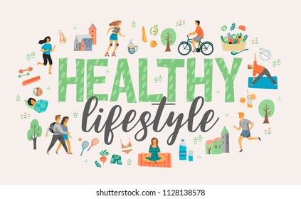 Healthy lifestyle. Roller skates, running, bicycle walk yoga Vector illustration