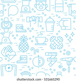 Healthy lifestyle seamless outline pattern