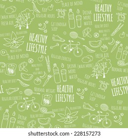 Healthy lifestyle seamless pattern on green background. Vector illustration
