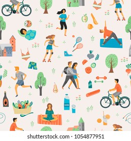 Healthy lifestyle. Seamless pattern. Roller skates, running, bicycle, walk, yoga, helthy eating. Design element in pastel colors with textures