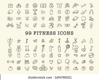 Healthy Lifestyle. Sport and activity. Fintess design elements, icons set. Vector illustration