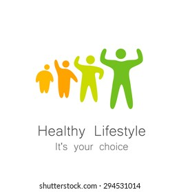 Healthy lifestyle - template for logos of sports club, sporting goods, diet, health centers , etc.