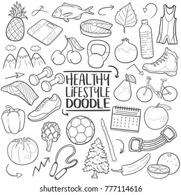 Healthy Lifestyle Tools Nutrition Healthy Food Traditional Doodle Icons Sketch Hand Made Design Vector