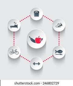 Healthy Lifestyle, trendy round icons vector illustration, eps10, easy to edit