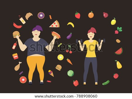 Two Girls One Fat Who Is Surrounded By Harmful Food And