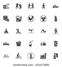 Healthy lifestyle vector icons set, modern solid symbol collection, filled style pictogram pack. Signs, logo illustration. Set includes icons as Dancers couple, Running man, Sport shoe, Weight loss