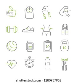 Healthy lifestyle vector illustration icons, workout, sports, fitness and nutrition