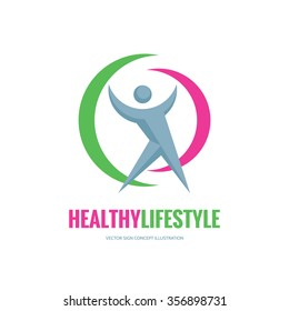 Healthy lifestyle - vector logo template concept illustration. Human character sign. People icon. Fitness sport insignia. Design elements.