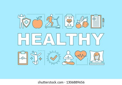 Healthy lifestyle word concepts banner. Sports, healthy nutrition. Presentation, website. Isolated lettering typography idea with linear icons. Vector outline illustration
