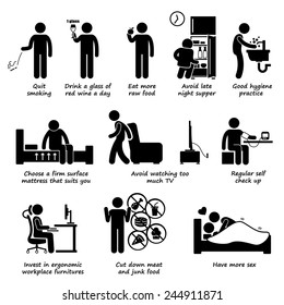 Healthy Lifestyles Do and Don't Stick Figure Pictogram Icons